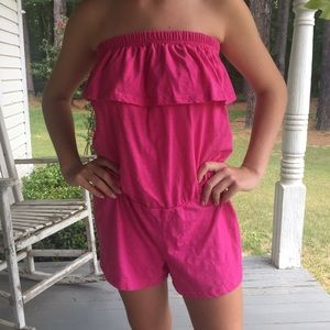 Pink swimsuit cover up romper. XL.